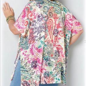 AVENUE Paisley Hacci Kimono Top Women's Plus 22/24
